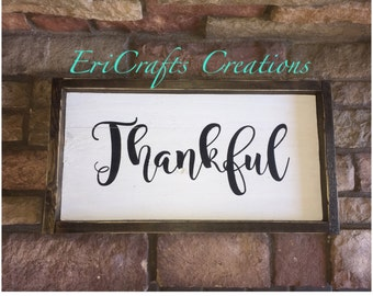 Thankful Wood Painted Sign Framed