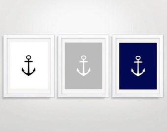 Anchor Triptych, Set of 3 Prints,  Printable Art, Anchor Wall Art,  Nursery Art, Set of three, Nautical Print, Nautical Art