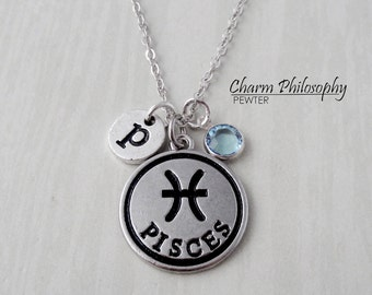 Pisces Zodiac Necklace - Monogram Personalized Initial and Birthstone - Antique Silver Horoscope Pendant
