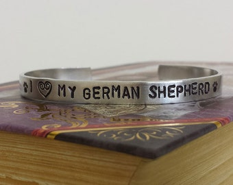 I Love my German Shepherd - Dog Lover Aluminum Bracelet Cuff - Hand Stamped