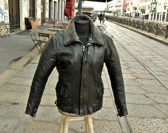 CHEVIGNON Leather jacket original vintage aviator motorcycle made in France size L