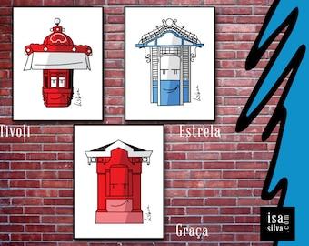 Lisbon Newsstands, Tivoli + Star + Free ** Wall Fine Art Print, illustration Prints, Lisbon, Portugal-series Lisbon kiosks