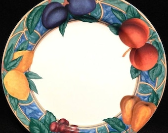 ON SALE Victoria & Beale FORBIDDEN Fruit 9024 Dinner Plate Fruit Border on White Background Circa 1995 Made in Indonesia Excellent Condition