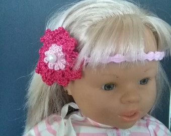 Handmade crochet baby girl elastic pink fuchsia Headband with flower