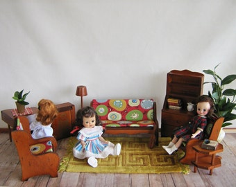 Vintage Wooden Doll Furniture - 9 Piece Living Room Set - Play Scale