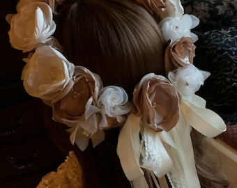 Flower Crown, Halo, Bridal Crown, Flower Girl Crown with Handmade Flowers