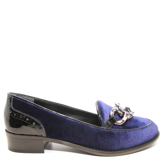 Loafers rhinestone and leather Velvet Edza with patent Navy details Meg AwvxqtRU