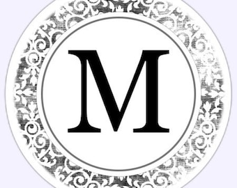 Custom Wedding Monogram or Bridal Shower Labels, Damask Stickers - Personalized for YOU