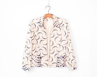 boxy 60s blazer * mid century jacket * 1960s atomic swirl polka dot cardigan * navy blue & cream * m / l