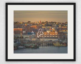 Portland Harbor Sunset - Maine Design Wall Art and Canvas Print