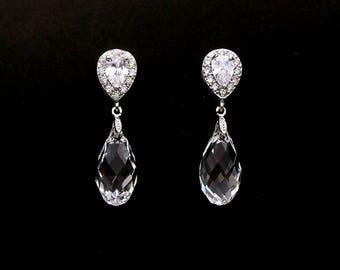 bridal earrings wedding earrings bridal jewelry teardrop swarovski clear crystal briolette with cubic zirconia teardrop rhodium earring post