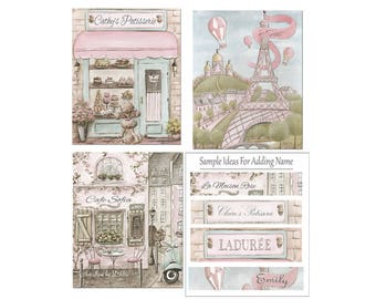 Personalized Paris Themed Nursery Prints, Set Of 3, Vintage Blush Pink Watercolor Eiffel Tower, Patisserie, Cafe, 6 Sizes 5x7 to 24x36