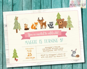 Woodland Birthday Invitation - GIRL Woodland Animal Birthday - Woodland Party Invitation - DIY Printable or Printed Invitations