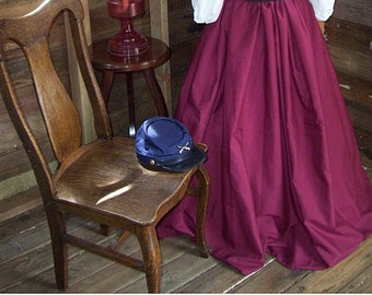 Civil War skirt, Victorian skirt, Victorian skirt, prairie skirt, civil war costume, victorian costume, skirt only Color choice and Fullness