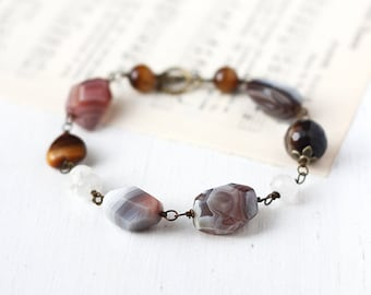 Chunky Gemstone Bracelet with Agate, Tiger's Eye and Moonstone - Autumn Hues, Brown Earth Tones Bohemian Jewelry