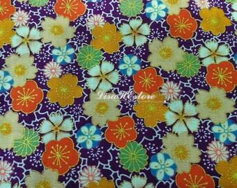Japanese floral motif, in orange on purple, gold metallic, 1/2 yard, pure cotton fabric