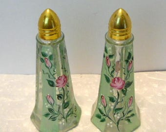 """Vintage hand painted glass salt & pepper shakers, Spring green and pink roses, Gold tone caps, 1970s, Made in taiwan, 4 1/2"""" tall, tableware"""