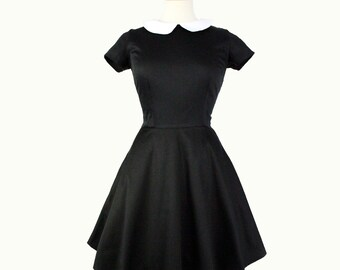 Custom Made to Your Measurements Classic Wednesday Addams  Black Skater  Dress