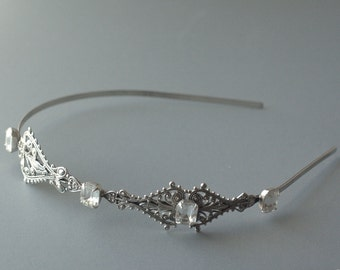 Victorian bridal headband silver filigree vintage crystal jewels ornate antique style