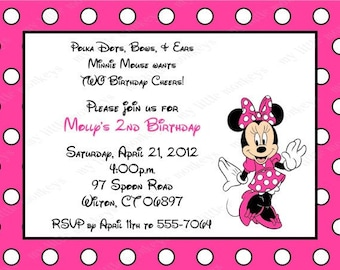 10 Minnie Mouse Invitations with Envelopes.  Free Return Address Labels