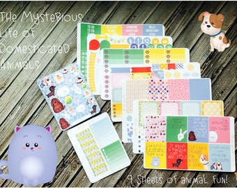 Mysterious Life of Domesticated Animals Weekly Planner Stickers Kit - Planner Stickers - Pets Planner Kit - Vertical Sticker Kit