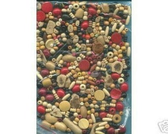500  Wood Beads, Assorted Shapes, Sizes and Colors