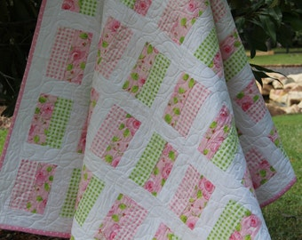 Simple Chic Quilt- Modern Twin Quilt- Large Toddler quilt, Pink and Green Floral Quilt- Girls Twin Quilt- Australian Made - Single Bed Quilt