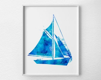 Sailboat Art, Sailboat Print, Nautical Decor, Nautical Nursery, Watercolor Sailboat Print, Nautical Print, Nautical Sailboat Art, 0383