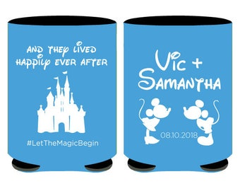 Disney Wedding Can Coolers, They Lived Happily Ever After Mickey Minnie Wedding Can Coolers, Disney Wedding Favors, Cinderella Castle (85)