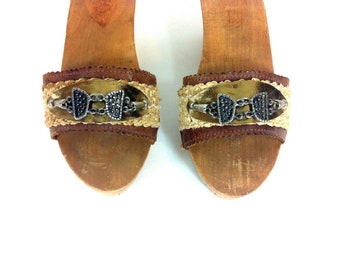 Platform Gypsy Leather Sandals - Slip On Platform Mules 7 - Hemp Hippie Clogs 7