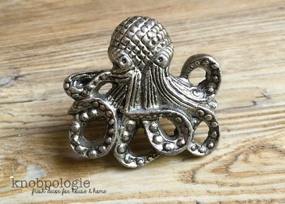 Superieur Octopus Knob   Large Antique Pewter Metal Knob   Nautilus Squid Beach  Nautical Drawer Pull   Ocean Animal Bathroom Or Nursery Decor From  Knobpologie On Etsy ...