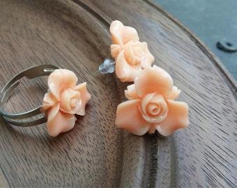Peach Rose Cabachon Set