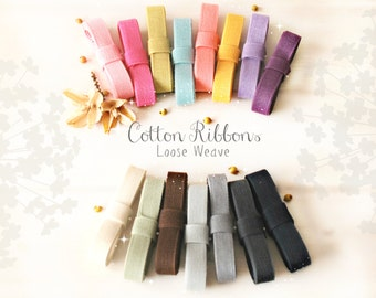 """Cotton Ribbon - 3 or 6 Yards of 100% Cotton Ribbon - 1/2"""" Wide - Ribbons for Weddings -Eco Friendly Ribbons -Colorful Cotton Ribbons - Trims"""