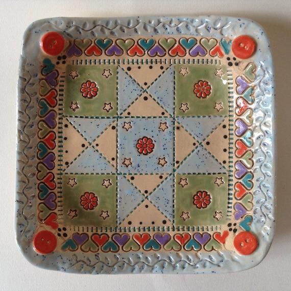 Handmade small ceramic dish, quiltblock pattern, star pattern, trinket dish, pin dish, sewing gift