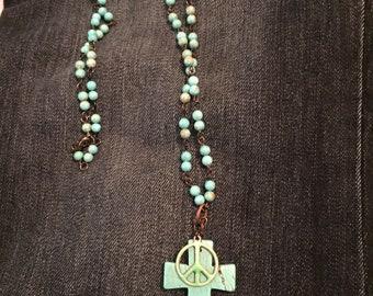 Turquoise Cross Peace Sign beaded boho necklace! Boho, Music, Festival, Hippie, Hippy