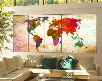 world map canvas art  print on canvas world map canvas art decor Print artwork large world map canvas art home office 5 panel
