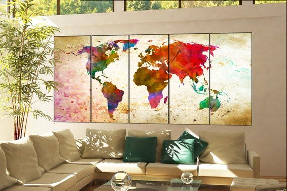 world map canvas art  print on canvas world map canvas art decor Print artwork large world map canvas art home office 5 panel