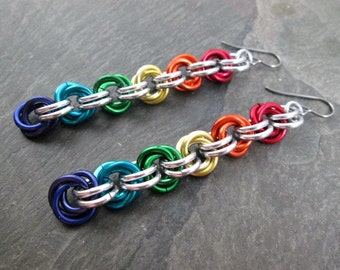 Chainmaille Earrings - Rainbow Mobius - Rainbow Chainmaille - Chainmail Jewelry - Pride Earrings