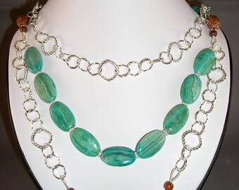 Silver links with Azurmalachite & Wood bead Necklace, Earrings