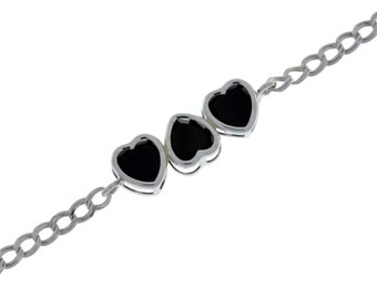3 Ct Natural Black Onyx Heart Bezel Bracelet .925 Sterling Silver