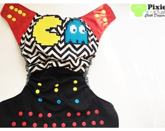 Pac-man One Size Pocket Diaper, Cloth Diaper (Photoshoot or Daily Use) MADE TO ORDER