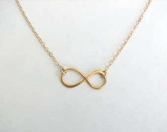 Dainty Infinity Necklace, Matte Gold Vermeil Infinity Necklace, Everyday Necklace, Friendship Necklace - 14K Gold Fill Chain