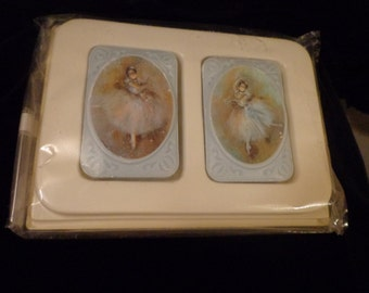 BALLERINA Guest Soaps, Set of 2 Dancing Ballerina Design Decorative Soap Set in Powder Blue in Original Box