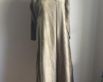 Vintage Khaki Olive Green Silk Long Tunic Kurta Dress • Bohemian Top • Boho Tunic • Indian Hippie