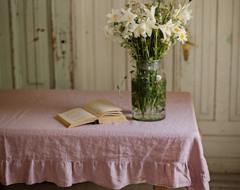 Stone washed linen tablecloth with ruffles. 12 colours. White, grey, natural, blue, pink, woodrose. Custom linens.