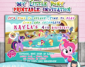 MY LITTLE PONY personalized invitations,My Little Pony birthday party,Pool party invites,Customized invites,Rainbow Dash,pinkie pie invites,