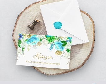 Robins Egg Bridesmaid Proposal Greeting Card, Mint and Gold, Robins Egg and Gold, Floral Maid of Honor, Templett #162200