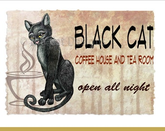 CAT CARD. Black Cat Coffee House and Tea Room Notecard. 5x7 Framable Card.
