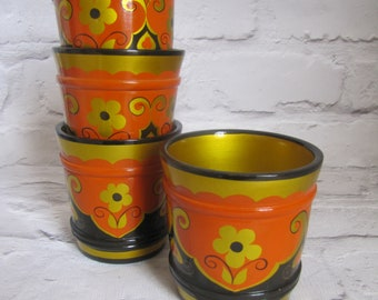 Russian Khokhloma Set Pots/Cups, Russian Folk Art Painted Small Wooden Pots or Cups Set 4