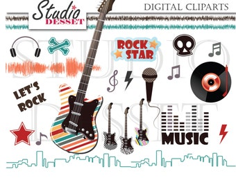 Rock Cliparts, Guitar Clip Art, Music Illustrations,Electornic Guitar, RockStar Elements for Card Making, Scrapbooking Supplies C271